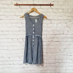 Vintage gingham blue button up romper